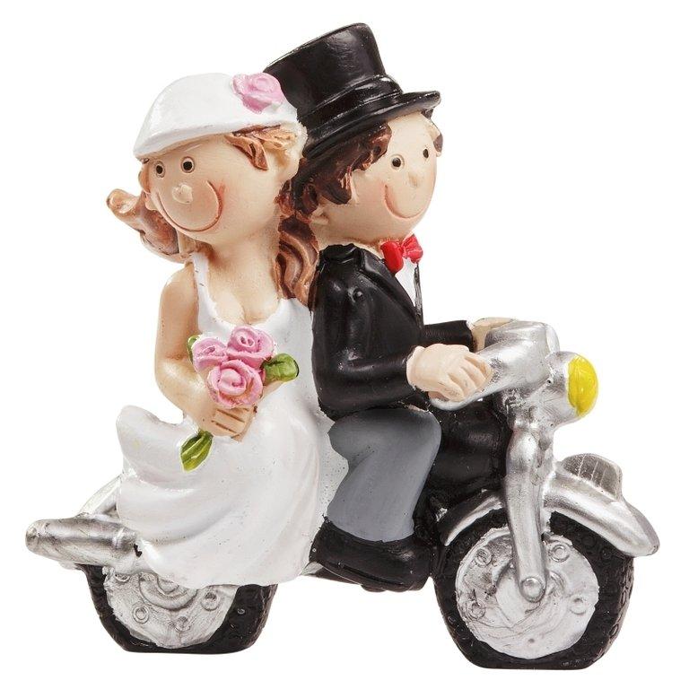 Creapop Hochzeitspaar Mit Motorrad 6 X 5cm Hochzeitstortenfigur