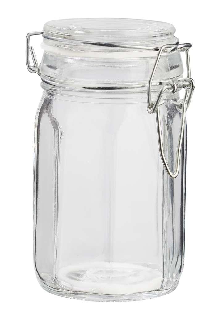 Deko-Glas achteckig 11 x 6,5 cm, mit Deckel und Dichtring,