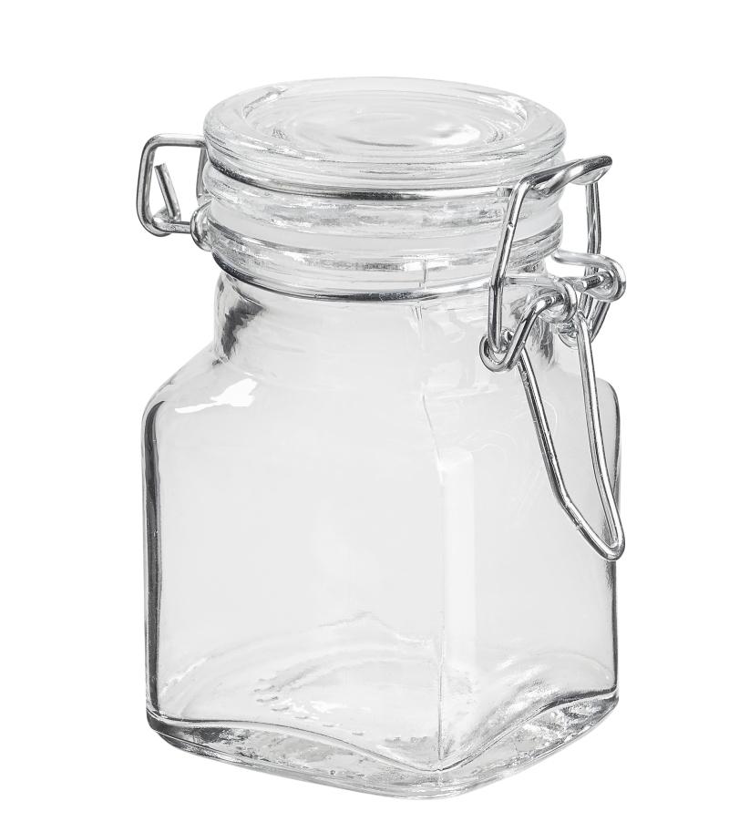 Deko-Glas 7 x 5 cm, viereckig, ca. 90ml, mit Deckel, Dichtring