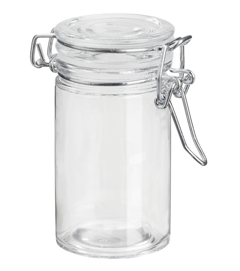 Deko-Glas 8,5 x 4 cm, rund, ca. 75 ml, Glas, Bügelverschluss